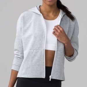 Lululemon Minimal Hoodie Cropped Jacket Gray Sz 2